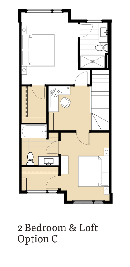 Calla II 2 Bedrooms and Loft Option C