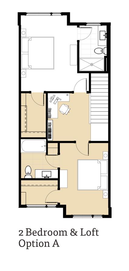 Calla 2 Bedrooms and Loft Option A