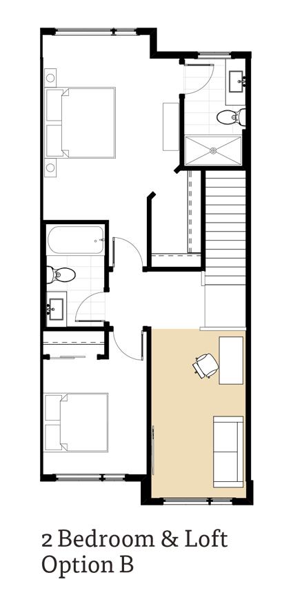 Calla 2 Bedrooms and Loft Option B