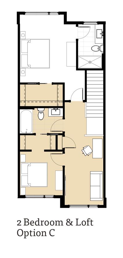 Calla 2 Bedrooms and Loft Option C